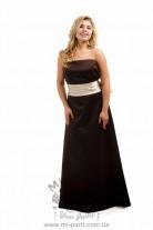 Платье коричневое с кремовым бантом