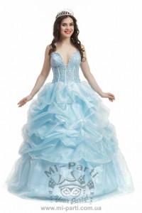 Платье голубое с кринолином