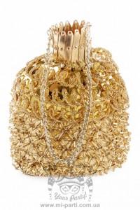 Золотая сумка-мешочек