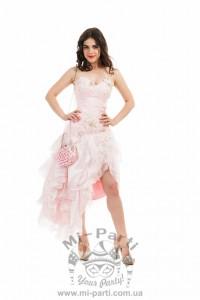 Платье розовое с рюшами
