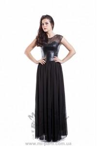 Платье черное с кожаным верхом